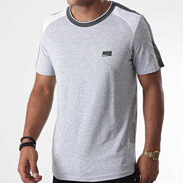 Jack And Jones - Tee Shirt A Bandes Ali Gris Clair Chiné