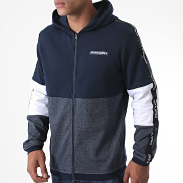 Jack And Jones - Sweat Zippé Capuche A Bandes Ally Bleu Marine