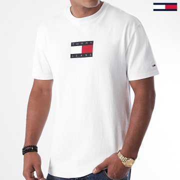 Tommy Jeans - Tee Shirt Small Flag 8351 Blanc Cassé
