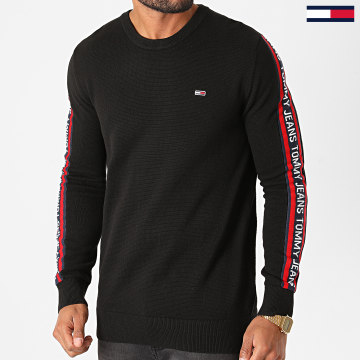 Tommy Jeans - Sweat Crewneck A Bandes Sleeve Tape 9464 Noir