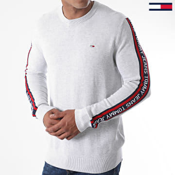 Tommy Jeans - Pull A Bandes Sleeve Tape 9464 Gris