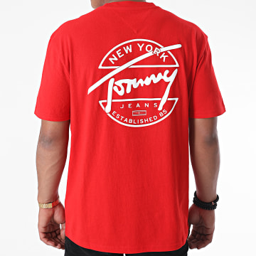 Tommy Jeans - Tee Shirt Round Back Logo 8350 Rouge