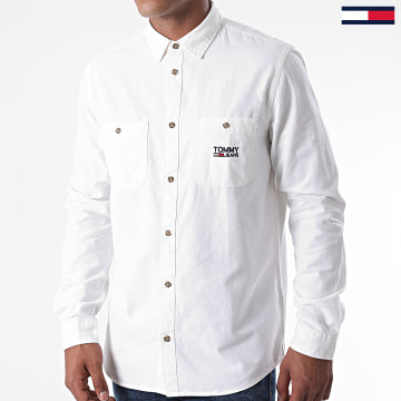 Tommy Jeans - Chemise Manches Longues Pocket Logo Chambray 8383 Blanc Cassé