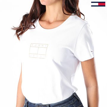 Tommy Jeans - Tee Shirt Femme Metallic Outline Flag 8473 Blanc Doré