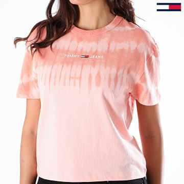 Tommy Jeans - Tee Shirt Femme Tie Dye Summer 8541 Rose Pêche