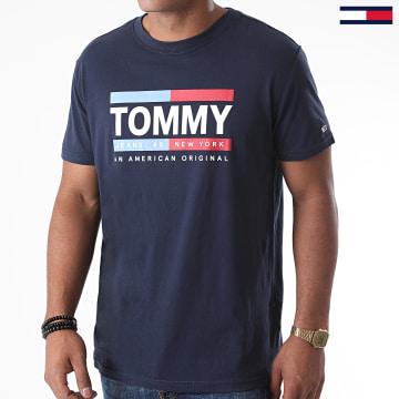 Tommy Jeans - Tee Shirt Straight Box Logo 8359 Bleu Marine