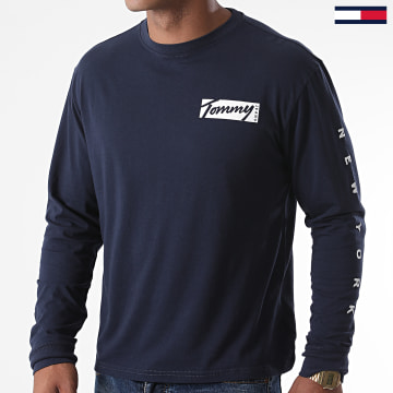 Tommy Jeans - Tee Shirt Manches Longues Script Box 8670 Bleu Marine