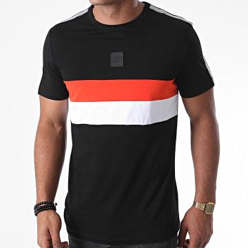 Antony Morato - Tee Shirt A Bandes Orange Line MMKS01835 Noir