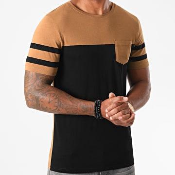 LBO - Tee Shirt Poche A Bandes 1234 Noir Camel
