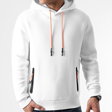 LBO - Sweat Capuche Details Tech Orange 1207 Blanc