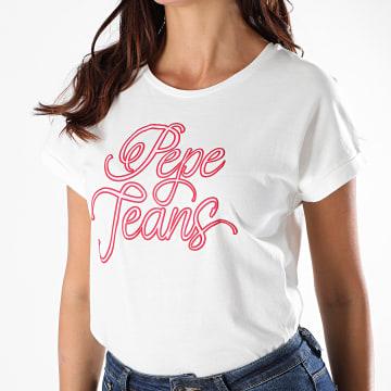 Pepe Jeans - Tee Shirt Femme Alberta Blanc Cassé