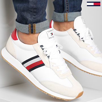 Tommy Hilfiger - Baskets Leather Mix Signature Tape 3003 White