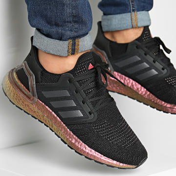 Adidas Performance - Baskets Ultraboost 20 EG9749 Core Black Grey Five Signal Pink