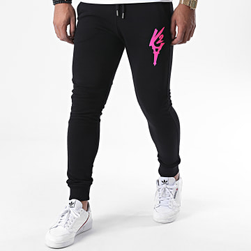 Da Uzi - Pantalon Jogging Logo Noir Rose Fluo
