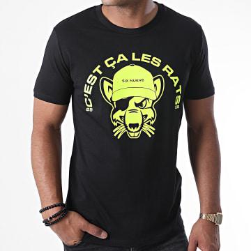 L'Allemand - Tee Shirt Rats Noir Jaune Fluo