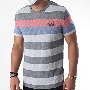 Superdry - Tee Shirt A Rayures OL Hoop Stripe M1010180A Gris Chiné