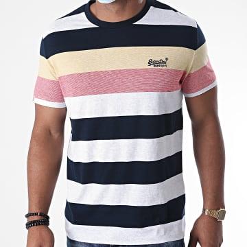 Superdry - Tee Shirt A Rayures OL Hoop Stripe M1010180A Gris Chiné Bleu Marine