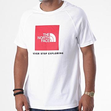 The North Face - Tee Shirt Raglan Red Box BQOL Blanc