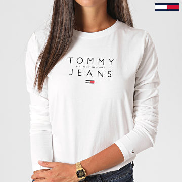 Tommy Jeans - Tee Shirt Manches Longues Femme Essential Logo 8667 Blanc