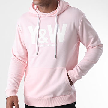 Y et W - Sweat Capuche Logo Rose Blanc