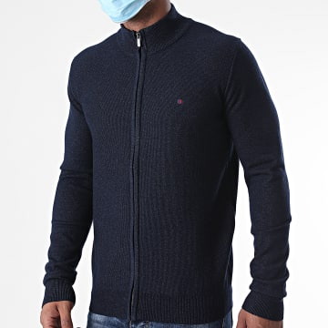 Teddy Smith - Pull Zippé Erico Bleu Marine Chiné