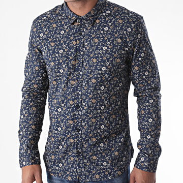 Teddy Smith - Chemise Manches Longues Floral Carton Bleu Marine