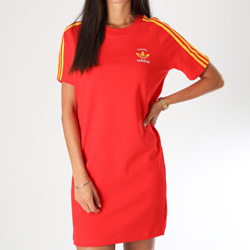 Adidas Originals - Robe Tee Shirt Femme A Bandes GP1912 Rouge Jaune