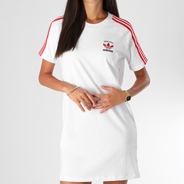 Adidas Originals - Robe Tee Shirt Femme A Bandes GP1913 Blanc Rouge