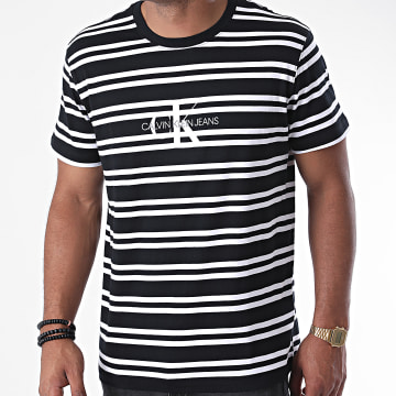 Calvin Klein - Tee Shirt A Rayures Striped Center CK Logo 5698 Noir Blanc