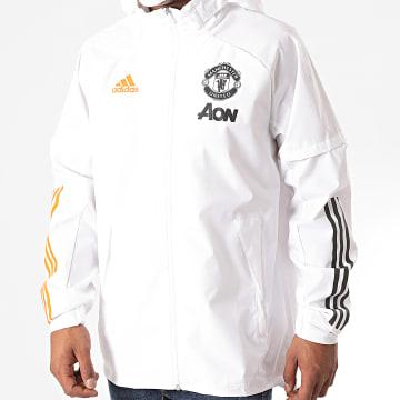 adidas - Veste Zippée Capuche Manchester United FC FR3693 Blanc