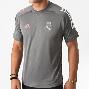 Adidas Performance - Tee Shirt De Sport A Bandes Real FQ7850 Gris