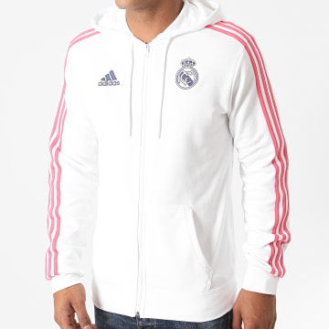 Adidas Performance - Sweat Zippé Capuche A Bandes Real GH9995 Blanc