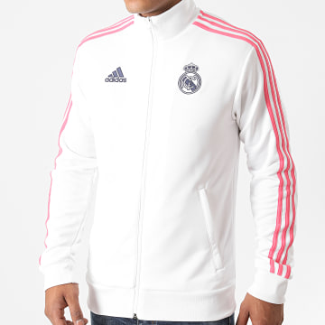 Adidas Performance - Veste Zippée A Bandes Real Track GH9996 Blanc