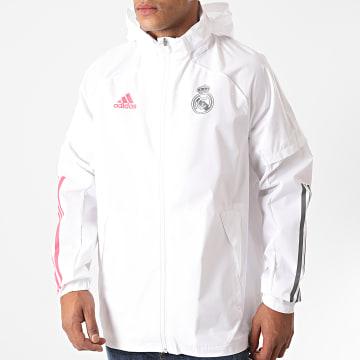 adidas - Veste Zippée Capuche Real Madrid FQ7847 Blanc