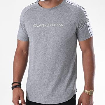 Calvin Klein - Tee Shirt A Bandes Logo Tape Shoulder 5983 Gris Chiné
