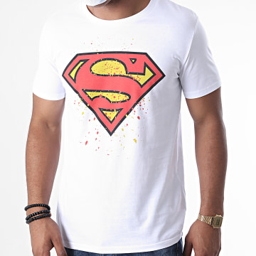 DC Comics - Tee Shirt Superman Splatter Blanc