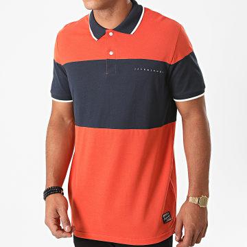 Jack And Jones - Polo Manches Courtes Pro Orange Bleu Marine