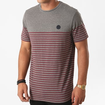 Jack And Jones - Tee Shirt A Rayures Blamorgan Gris Chiné Bordeaux
