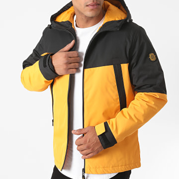 Jack And Jones - Veste Zippée Capuche Beatle Noir Jaune