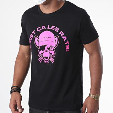 L'Allemand - Tee Shirt Rats Noir Rose Fluo