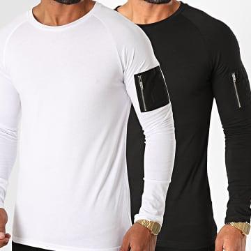LBO - Lot de 2 Tee Shirts Manches Longues Bomber 1224 Blanc Noir