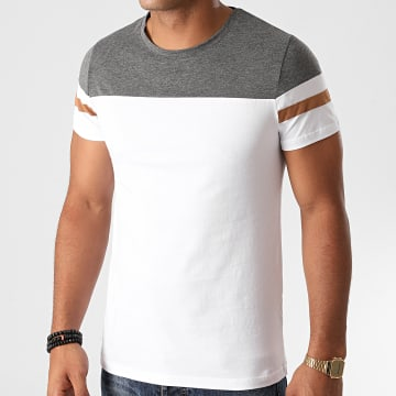 LBO - Tee Shirt Bicolore A Bandes 1264 Gris Anthracite Blanc
