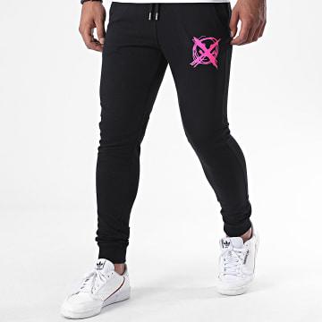 Niro - Pantalon Jogging Sale Mome Noir Rose Fluo