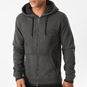 Teddy Smith - Sweat Zippé Capuche Giclass Gris Anthracite Chiné
