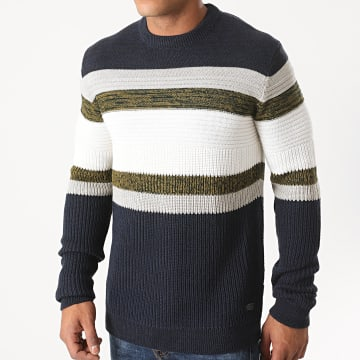 Only And Sons - Pull Lazlo 7 Blanc Bleu Marine