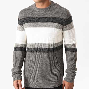 Only And Sons - Pull Lazlo 7 Gris Chiné Blanc Gris Anthracite Chiné