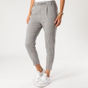 Only - Pantalon Carreaux Femme Poptrash Easy Gris