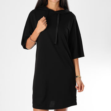 Only - Robe Sweat Capuche Femme Dawn Noir