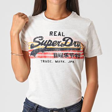 Superdry - Tee Shirt Femme VL Retro Rainbow W1010232A Gris Chiné