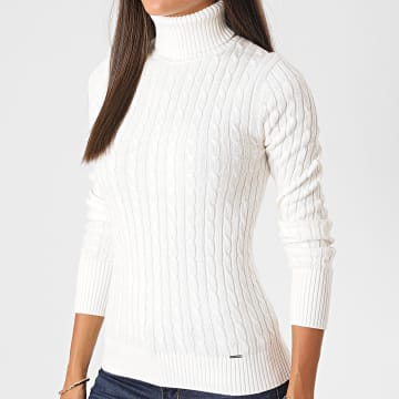 Superdry - Pull Femme Col Roulé Croyde Cable W6110058A Blanc